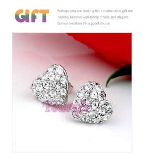 18K White Gold Plated Ear Studs Swarovski Crystal HEART OF OCEAN