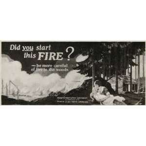1926 Billboard Ad Fire Prevention Woods Forest Cabin