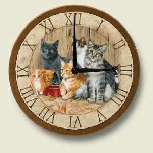 Barn CATS Kittens Decorative Wood Wall Clock:  Home