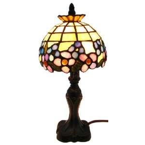 Stained Glass Mini Accent Lamp Light   Blue Flowers Home Improvement