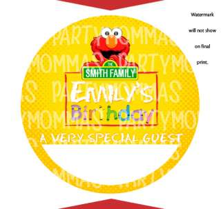 ELMO Birthday Party Favors NAME TAG STICKER