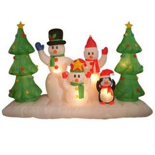 Airblown Inflatable Winter Scene Snowman Family Penguin
