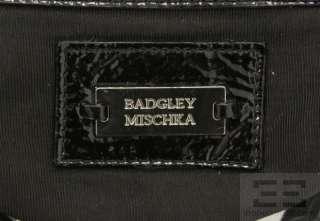 Badgley Mischka Grey Leather And Black Patent Trim Tote Bag