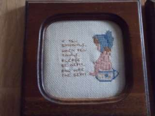 Vintage Country Bathroom Sayings Finished Cross Stitch