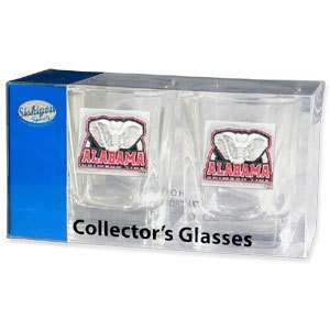 Collectors Glass Set   Alabama Crimson Tide   2 Shot