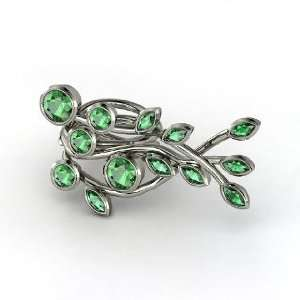 Three Finger Vine Ring, Round Emerald 14K White Gold Ring
