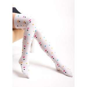 Multi Color Heart White Thigh High Socks Size 9 11