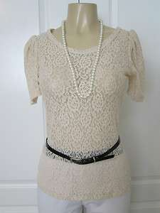 BEAUTIFUL BEIGE SHEER LACE RUCHED SHORT SLEEVES BLOUSE / TOP