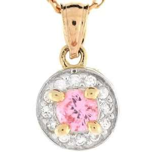 14k Solid Gold Pink CZ October Birthstone Charm Pendant Jewelry