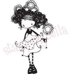 Stamping Bella SUZETTE Rubber Stamp girl doll flower um
