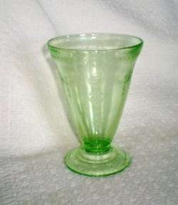Belmont Glass ROSE CAMEO Green Depression Glass Footed Tumbler