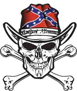 CONFEDERATE FLAG SKULL CROSSBONES STICKER DECAL COWBOY COWGIRL IT UP
