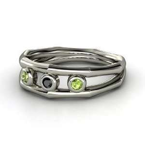 Stone Ring, Sterling Silver Ring with Green Tourmaline & Black Diamond