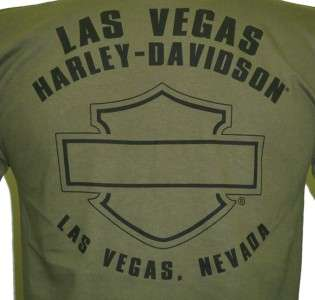 Harley Davidson Las Vegas Dealer Tee T Shirt GREEN MEDIUM #BRAVA1