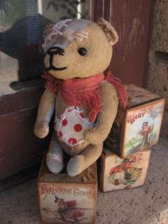 handmade miniature teddy bear primitive vintage artist raggy bears
