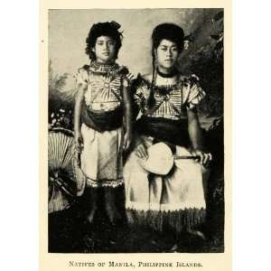 : 1898 Print Manilla Philippines Native Woman Child Cultural Costume