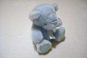 First & Main Pastel Pal Blue Bear Plush Toy Rattle 6 1/2 Tall EUC