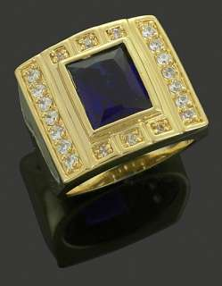 New Mens Ring Fake Yellow Gold Plated Brass Iced Out CZ Hip Hop Bling