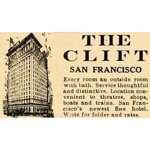 1926 Ad Clift Hotel San Francisco Theater Boats Rooms