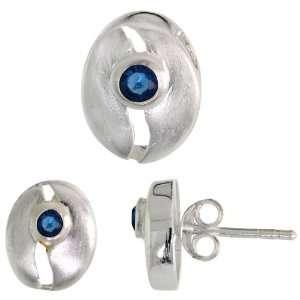 tall) Set, w/ Brilliant Cut Blue Sapphire colored CZ Stones Jewelry