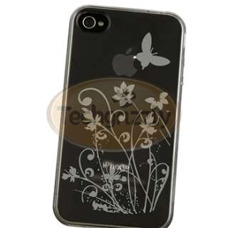 Smoke Flower TPU CASE+PRIVACY SCREEN FILTER+DC Charger for iPhone 4S 4
