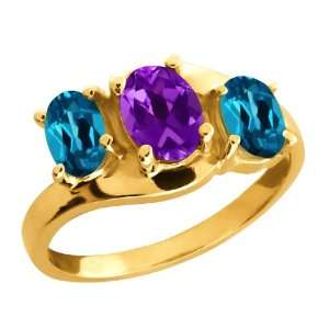 1.85 Ct Oval Purple Amethyst and London Blue Topaz 14k