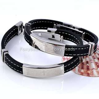 Mens Silvery Stainless Steel Bible Cross Black Rubber Wristband Cuff