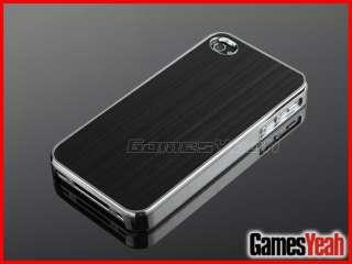 Deluxe Black Aluminum Chrome Hard Case Cover F iPhone AT&T Verizon