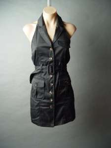 Black Nautical Military Cargo Style Belted Button Front Halter Shirt