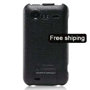 Black Genuine Leather Flip Case Cover for HTC Desire S