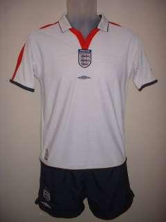England Umbro Reversible Football Soccer Jersey Shirt & Shorts Kit Boy