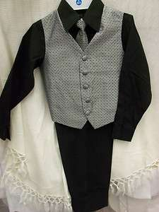 new boy Black shirt pants silver vest tie set 8 10 12 church party