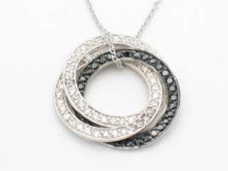 PLATINUM SILVER DIAMOND SET BLACK WHITE CIRCLE PENDANT