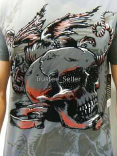 NWT REBEL SPIRIT Men Tattoo Rock Charm Skull Tee Shirts