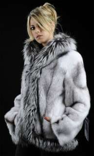 Black cross full skin mink fur jacket with natural silver fox trimming