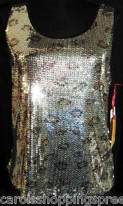 NWT Misses M Metallic Silver Leopard Print Tank Top with Blings