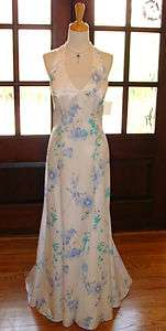 White Satin Blue Floral Formal Halter Gown Sweep Train Prom Party