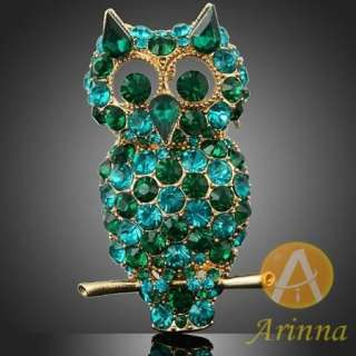 ARINNA blue green night owl twig lovely brooch pin gold GP 18K