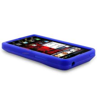 Blue Gel Soft Case+Privacy Film+Car+AC Charger For Motorola Droid