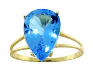 14K. Gold Natural Blue Topaz Pear Shaped Gemstones Set of Earrings