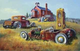 1932 1934 FORD RAT ROD FLAT HEAD T BUCKET SHELL GAS ART