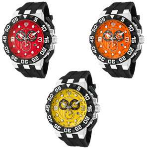SWISS LEGEND Mens Challenger Chronograph Red/Orange/Yellow Dial Black
