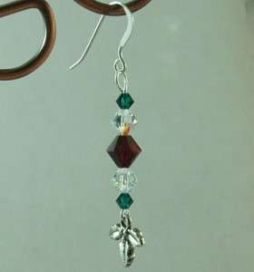Christmas Holly Swarovski Crystals Earrings Sterling Silver Earwires