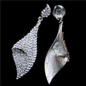 Leaf Dangle Pierced Earring w/ Swarovski Crystal Bridal