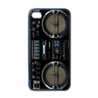 NEW iPhone 4 Hard Case Cover Black Retro Boombox Radio Box