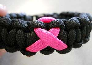 PARACORD BRACELET ~BREAST CANCER AWARENESS~ ((NEON PINK RIBBON