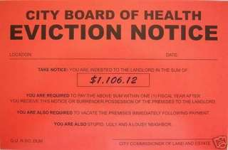 Humiliating Prank Sign BOARD OF HEALTH EVICTION NOTICE