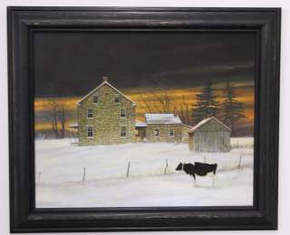 Jerry Cable brick house snow cow landscape picture framed