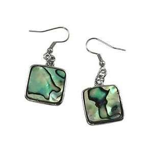 Silvertone Square Abalone Dangle Earrings Fashion Jewelry Jewelry