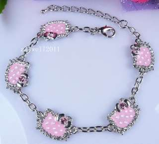 Hello Kitty Bracelet Crystal Bling Rhinestone SUPER CUTE PINK
